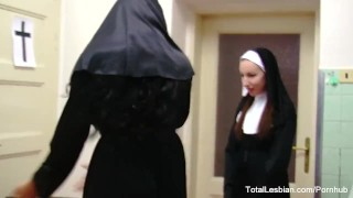 Naughty nuns in stockings play with food and each other