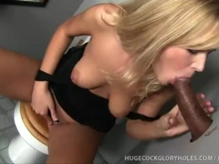 Hot Blonde Sucks Big Black Cock At Gloryhole!