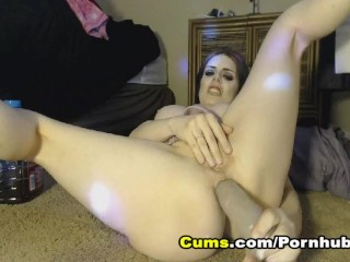 Busty Babe Hardcore Anal Fisting on Webcam huge black tits
