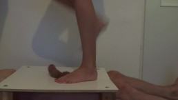 Cock and balls under four sexy feet. Brutal crushing and cocktrampling.