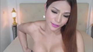 Gorgeous Asian Shemale Plays with Her Ass and Cum Asian butt