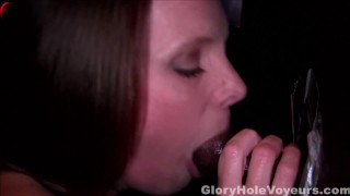 Housewife Sucking Black Cock in Gloryhole  bbc blowjob gloryhole cumshot cock sucking interracial facial swallow mother mom reality milf gloryholevoyeurs