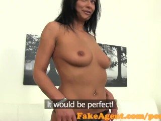 FakeAgent Horny tanned babe sucks and fucks in office