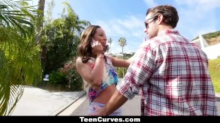 TeenCurves - Curvy Caramel Skinned Hottie Fucked By A Blind Man Stockings skinny