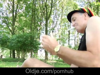 Smokin oldman shoves smooth russian Macy Nata in the woods