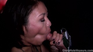 Asian Girl Sucks Cock in Gloryhole  asian blowjob mom amateur gloryhole milf kink cock sucking reality swallow gloryholevoyeurs tattoos natural tits