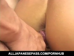 Yoshiki Aogiri has ass and slit full of cum after double teaming