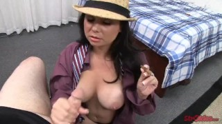 Tugs holly while smoking west stroking big