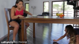 Lesbian Step-Sisters Better Not get Caught by Dad! porno