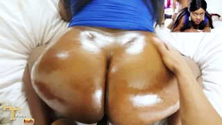 Preview 1 of Ebony Glazed Doughnut Butt Getting WORKED - Nude Facial / Hardcore Sex