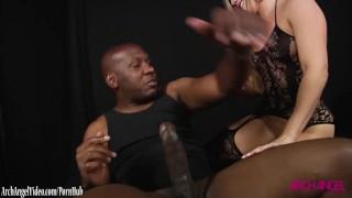 AJ Applegate sucks monster black cock of Mandingo
