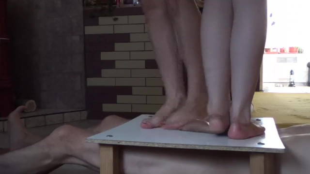 Hairy legs balls and cocks Two pairs sexy legs and cock balls trample crush massacre under them