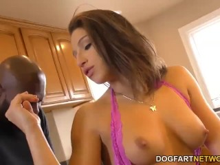 Abella Danger takes black dick in the kitchen