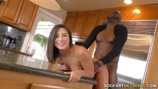 Abella Danger takes black dick in the kitchen big-cock bbc hardcore big-black-cock blowjob riding deepthroat interracial dogfartnetwork brunette cowgirl doggy-style natural-tits kitchen