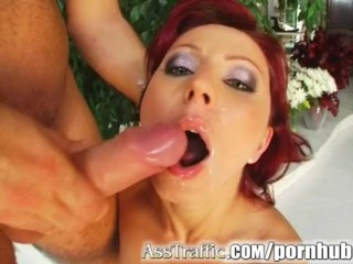 Ass Traffic Wild redhead Liza takes toys and two dicks in her ass