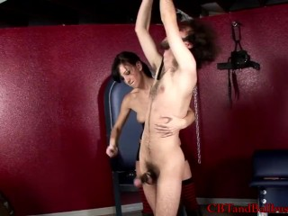 CBT slave gets good spanking and ball torture