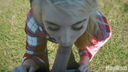 Slut gets mouth filled with cum outside