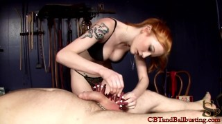 CBT slave gets cock torture to test his limits  clothes pins cbtandballbusting bdsm redhead femdom amateur tattoo fetish kink bondage whipping ballbusting cock pump natural tits