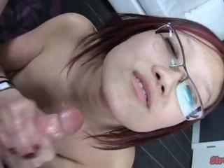 Nerdy Asian Cum on Tits