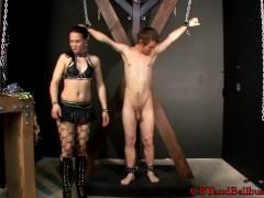CBT Mistress Cheyenne ball busts a new slave