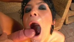 Ass Traffic Anal whore Rebeca gets double penetrated and eats cum