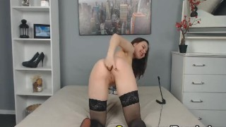 Horny Blonde Babe Striptease and Masturbate