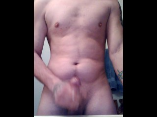 Stroking my cock and cum pours out