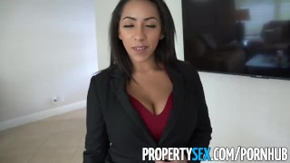 PropertySex -Busty real estate agent offers client blowjob and sex For cumshot