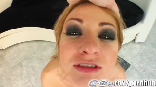 Cum For Cover Roxy's got five cocks in her throat and is cum-covered porno