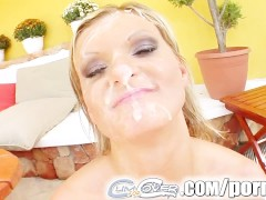 Cum For Cover They leave a sperm attack on horny honey's face