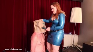 Lame Fucks get PEGGED!  julie simone strap on femdom sex male strap on pegging bbw redhead femdom kink latex anal female domination feitsh bitchboy fake tits