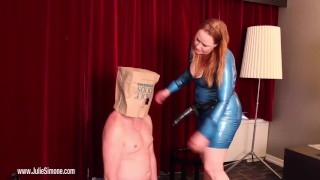 Lame Fucks get PEGGED!  julie simone strap on male strap on pegging bbw redhead femdom kink latex anal female domination feitsh bitchboy fake tits femdom sex