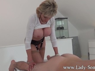 Preview 5 of Milf Lady Sonia gives hot handjob on massage table