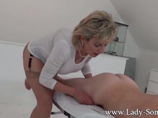 Preview 6 of Milf Lady Sonia gives hot handjob on massage table