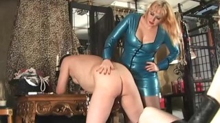 Fucking Size Queen - Femdom Pegging  redhead pegging femdom julie simone spanking caning kink blonde latex female domination voyeur strap on femdom sex fetish fake tits