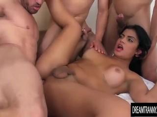 Very sexy shemale gang banged bareback
