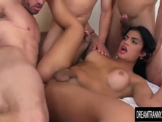 Very sexy shemale gang banged bareback