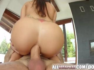 AllInternal Frech anal creampie for brunette stunner