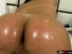 Teen shegirl with small tits shoots a cumshot from her cock