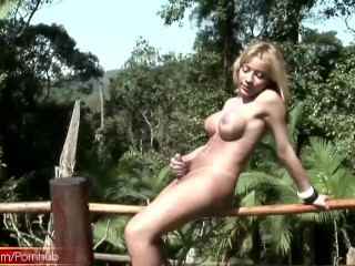 Blonde shemale pours messy milk all over her perfect boobs