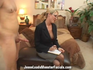 Business woman Angela Attison sucks cock, gets cum on her face and glasses