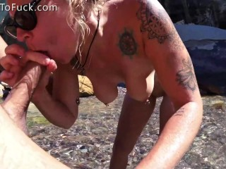Blonde with Perfect Natural Tits Fucked Against a Rock image