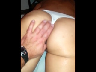 My sexy gf cumming in her white cotton thong pnties while im fingering her