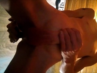 playing with my cock well butt plug is deep in my ass