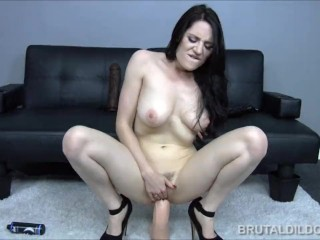 Brunette babe fucking her pussy with three big brutal dildos in HD