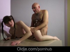 Sleazy old perv solace cutie in pain with licking her hairy cunt