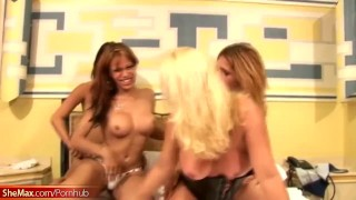 Blonde T girl splashes a cum load on four shemale bigtits