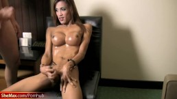 Long legged ladyboy inserts cucumber in tight ass and cums