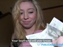 PublicAgent Innocent teen bends over for cash