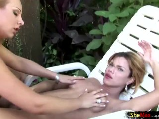 T-babes in foursome strip naked by pool and fuck hard cocks